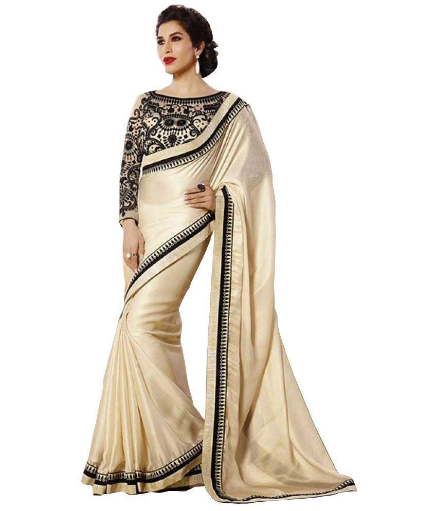 Jagdamba Textiles Beige Silk Saree