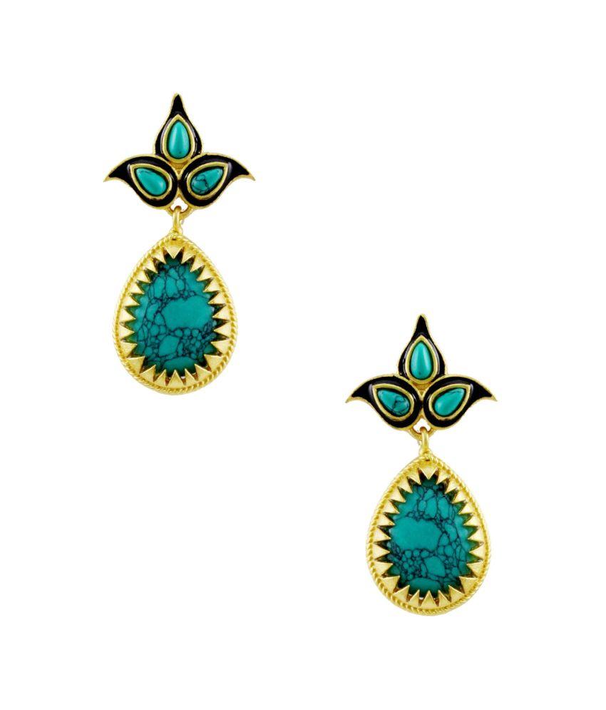 Orniza Blue Brass Earrings