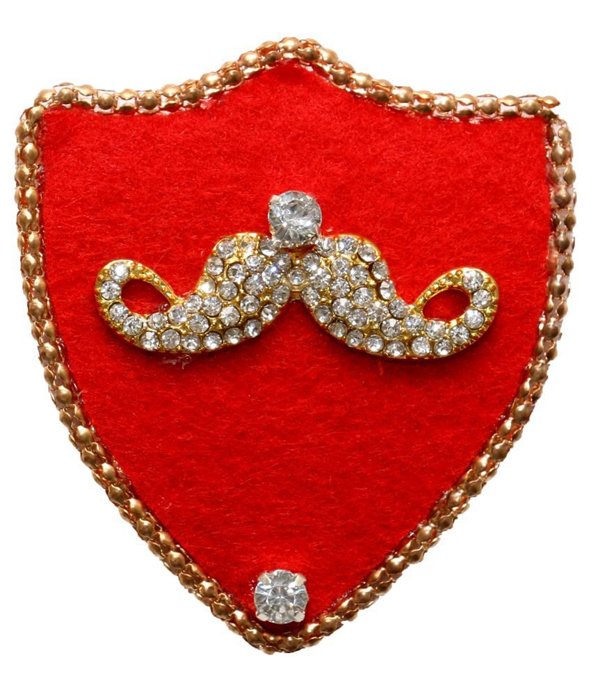The Suit Red Brass Brooch