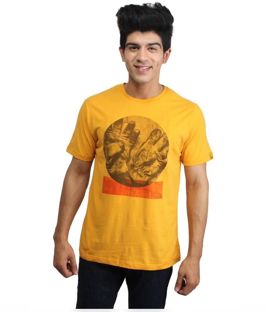 Cat Yellow Cotton T-Shirt