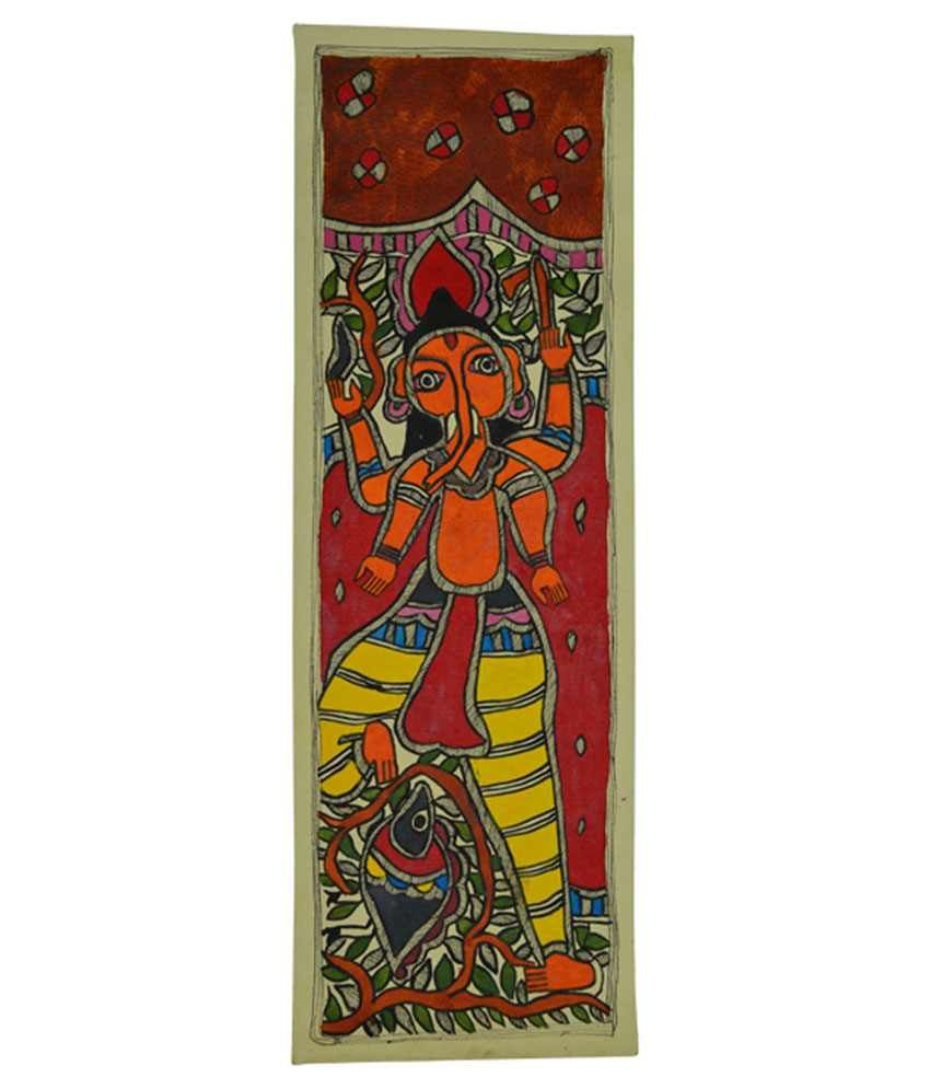 Craftuno Glossy Lord Ganesha Folk Art Painting