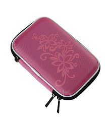 Data Cables External Hard Disk Hard Cover Pouch - Pink