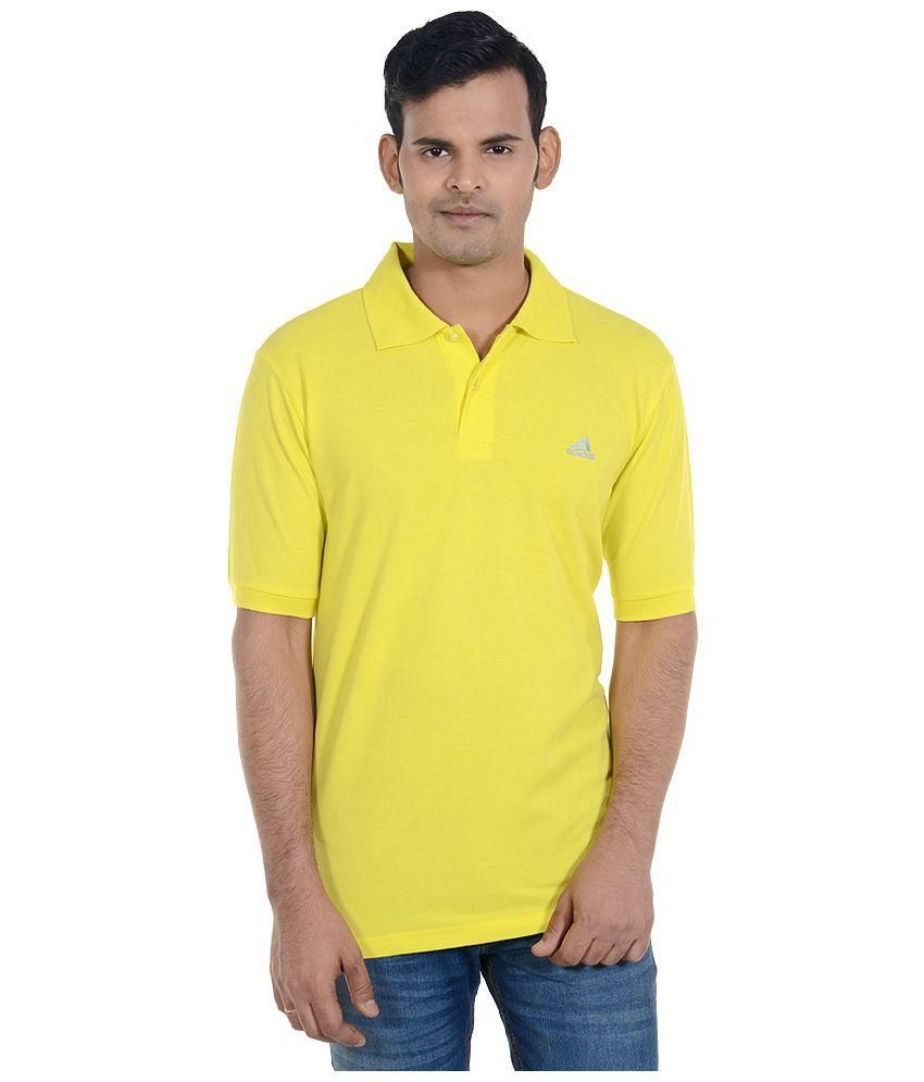 ADIDAS Yellow Half Sleeves Cotton Polo T-Shirt