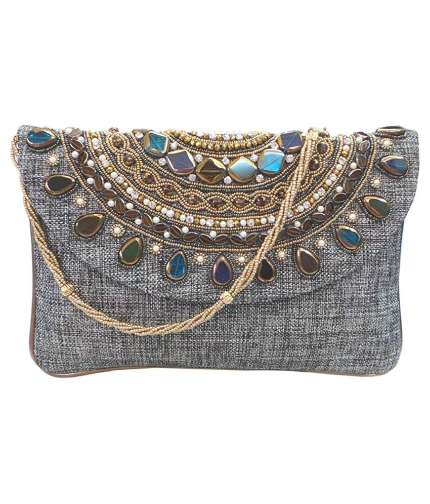 Bhamini Gray Fabric Clutch