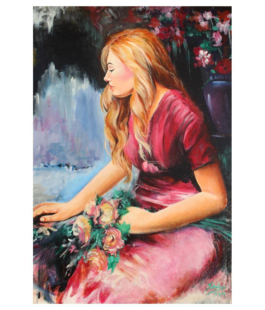 Buttistore Pink Acrylic Single Girl Painting