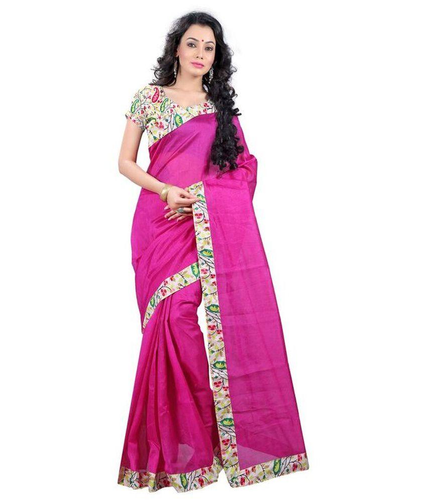 Goyal Silk Mills Pink Bhagalpuri Silk Saree