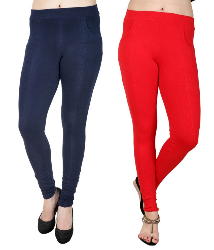 Nimya Navy Cotton Lycra Jeggings