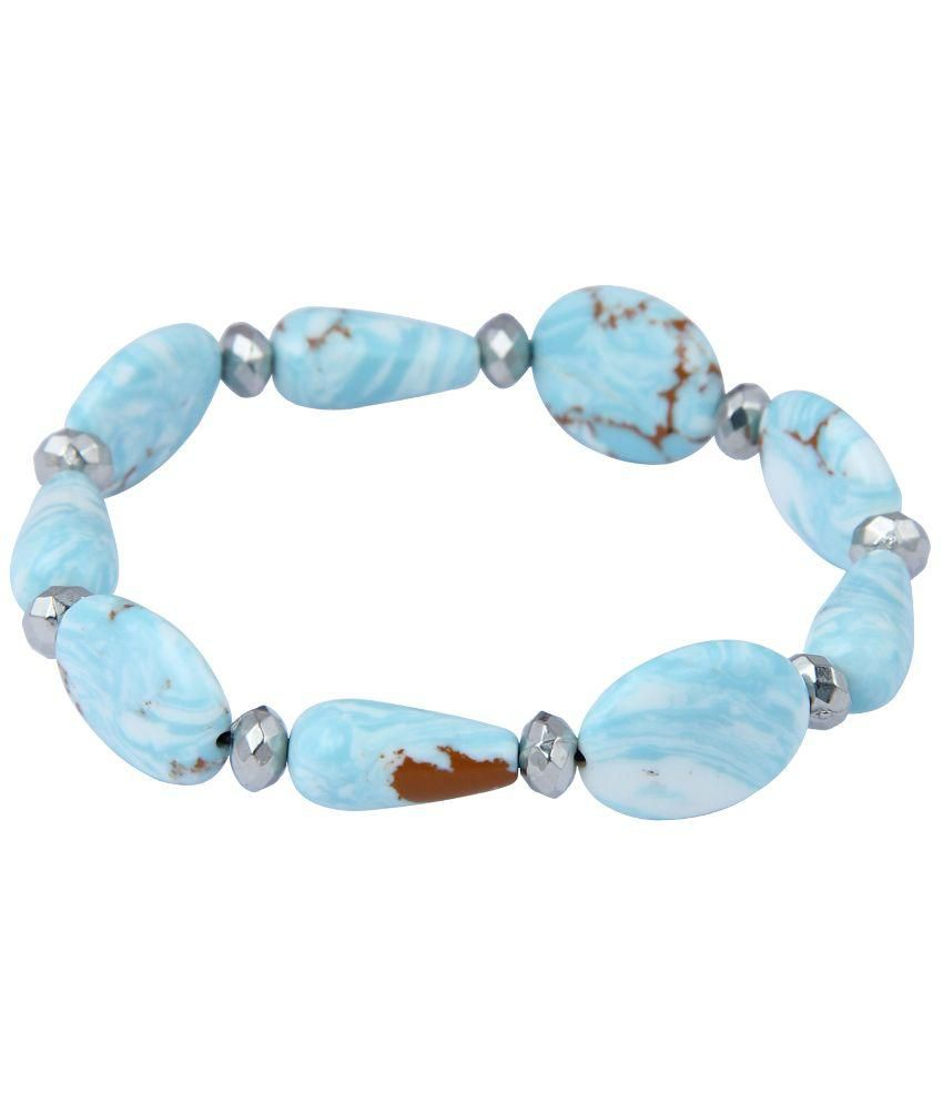 Pearlz Ocean Blue Mosaic Beads Stretchable Bracelet