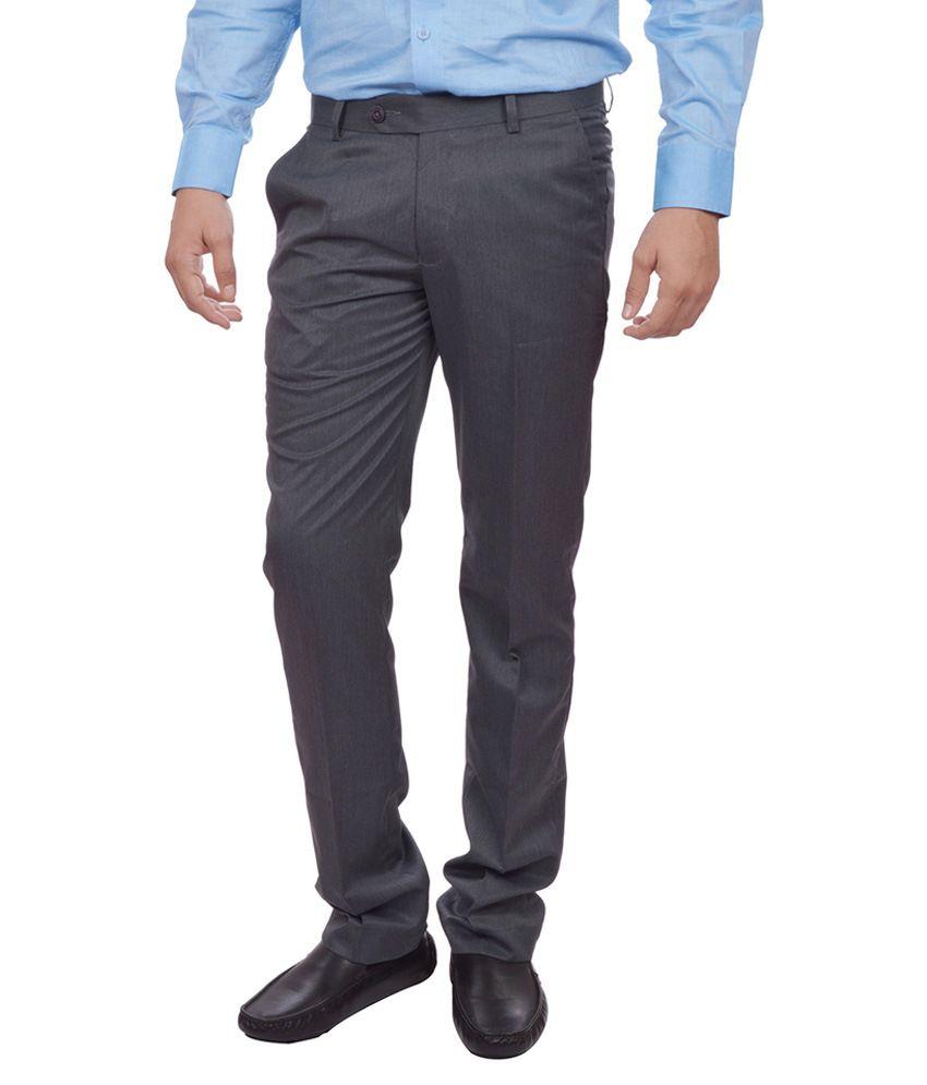 Sangam Apparels Grey Slim Fit Formal Trousers