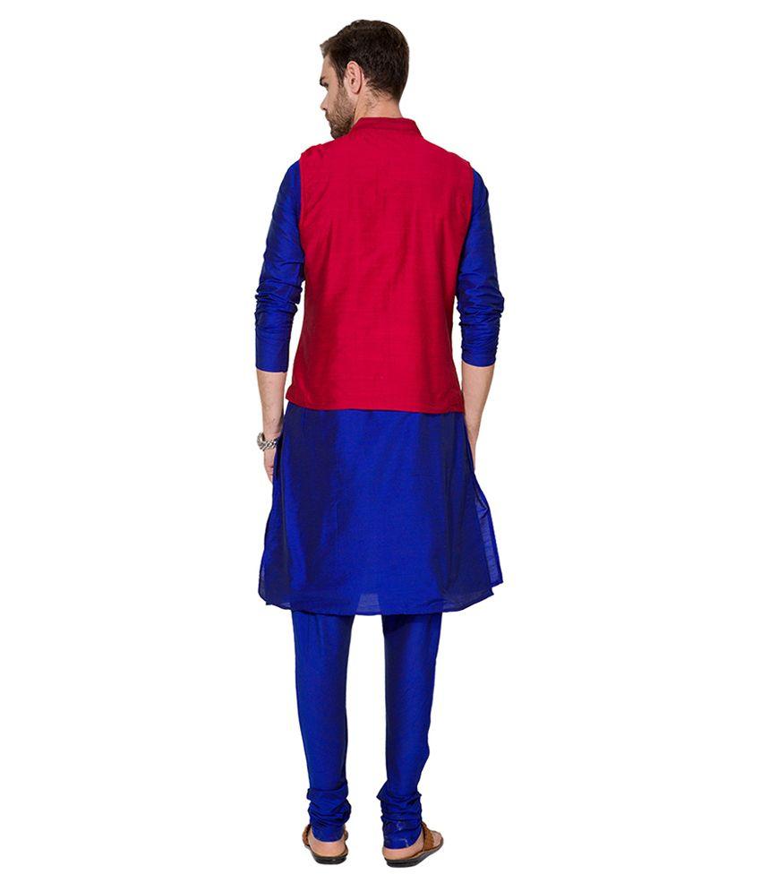 Svanik Navy Blue & Red Wedding Polyester Blend Long Kurta Pyjama ...