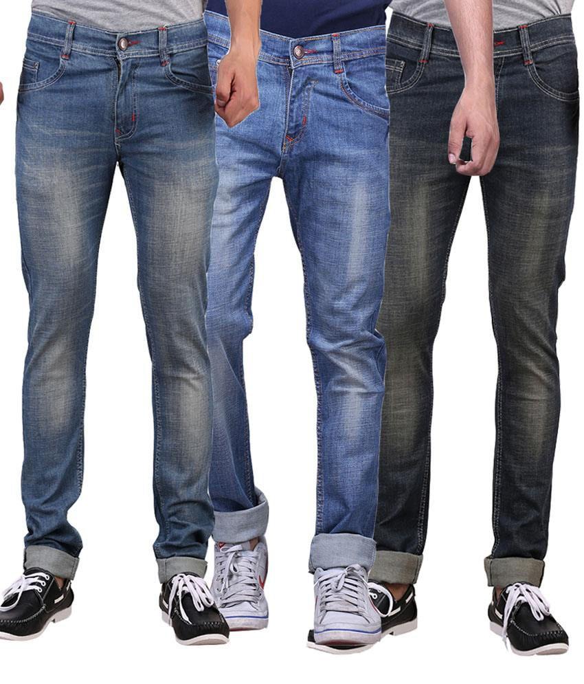 X-cross Multicolor Slim Fit Jeans - Pack Of 3