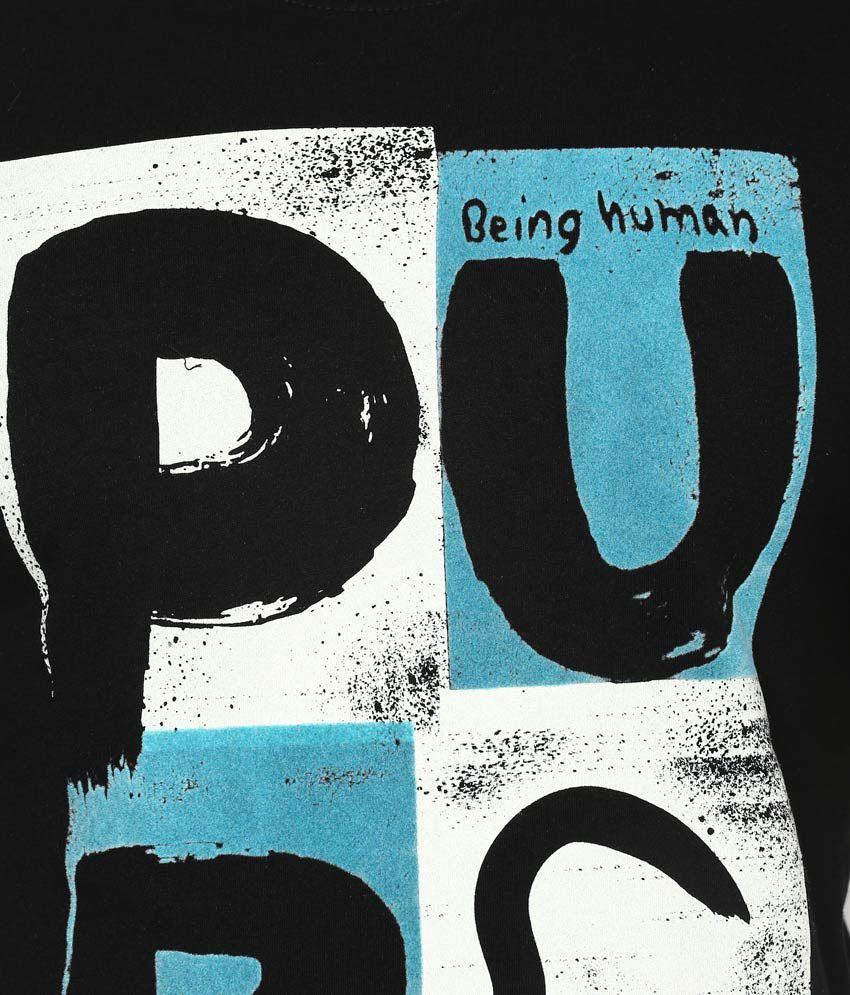 Human design t shirt -  Being Human Black Printed Round Neck T Shirt
