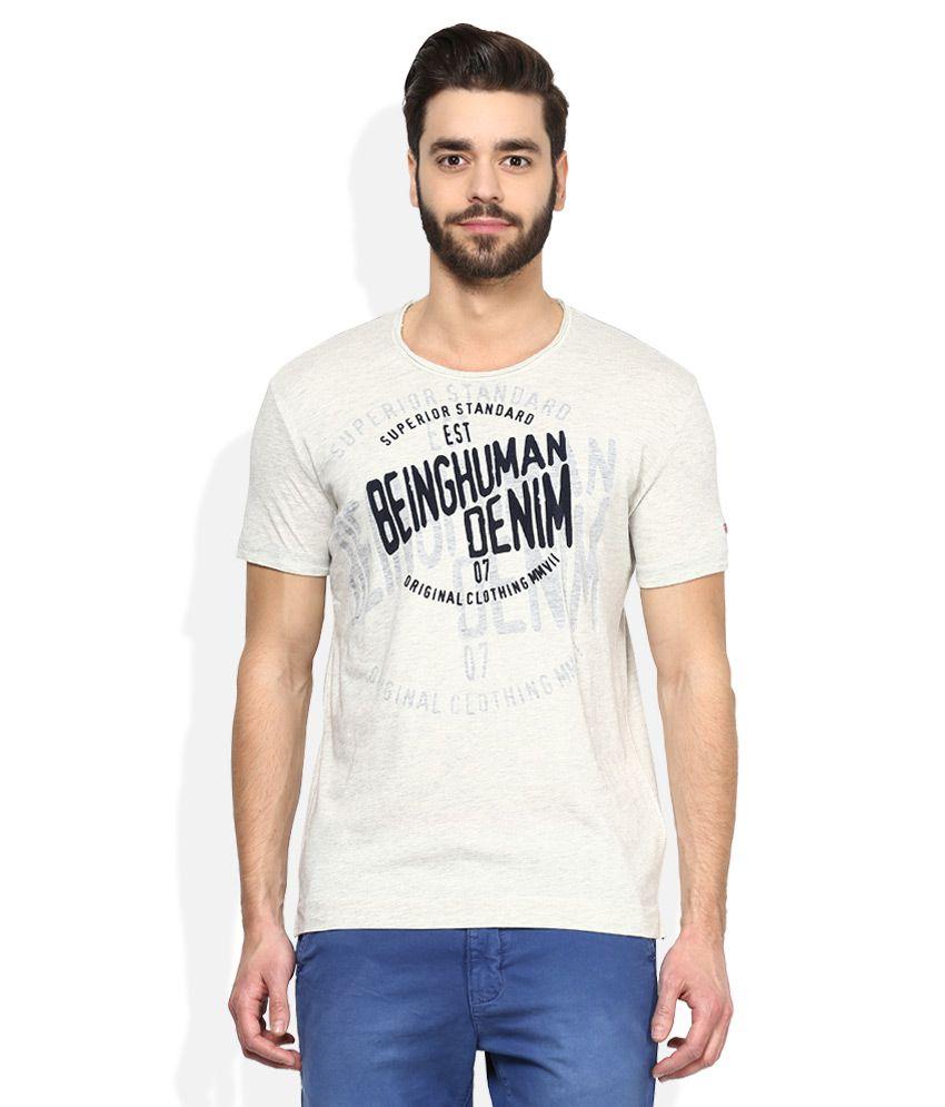 Being human grey printed t shirt buy being human grey for Buy being human t shirts online