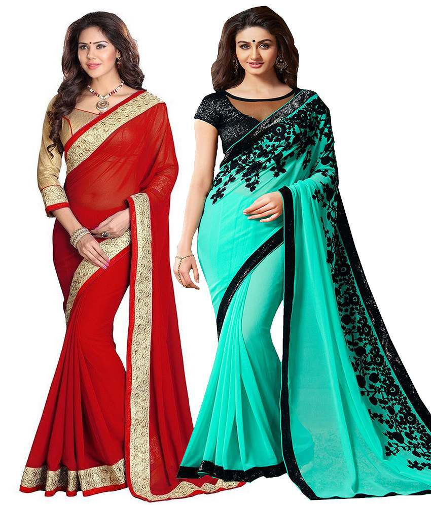 Asha Fashion Red & Turquoise Chiffon & Georgette Pack Of 2