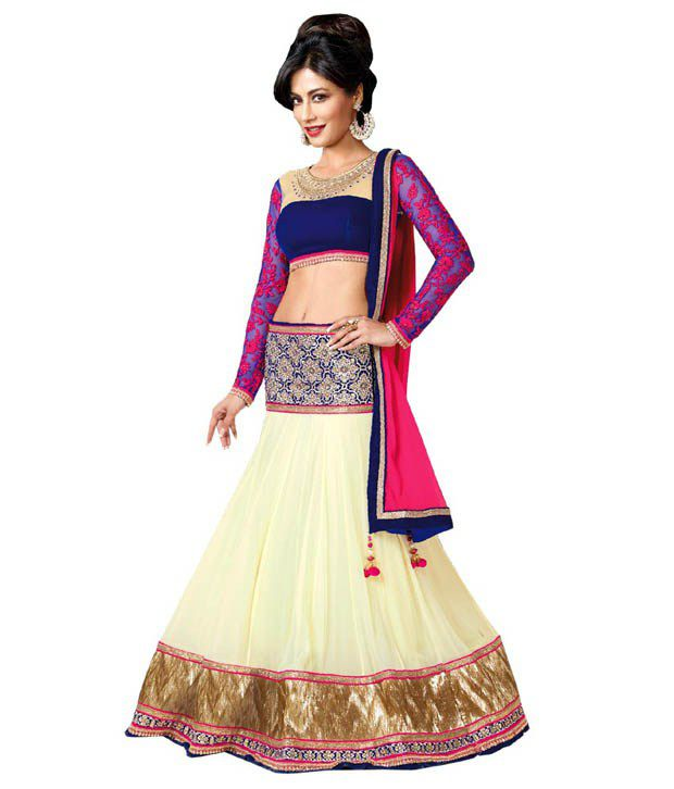 7ed70a8d503df Greenvilla Designs Blue Net Lehenga Price in India