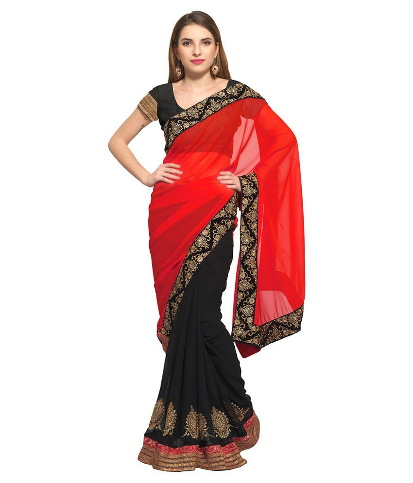 Prachi Silk Mills Red Faux Georgette Saree