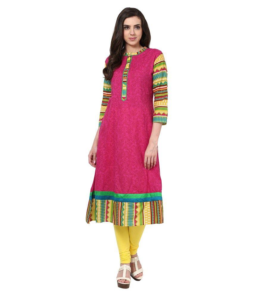 Prakhya Pink Cotton Kurti