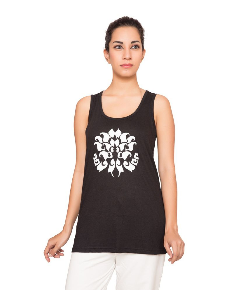 Foreveryoga Black Puff Printed Tee - Black And Grey