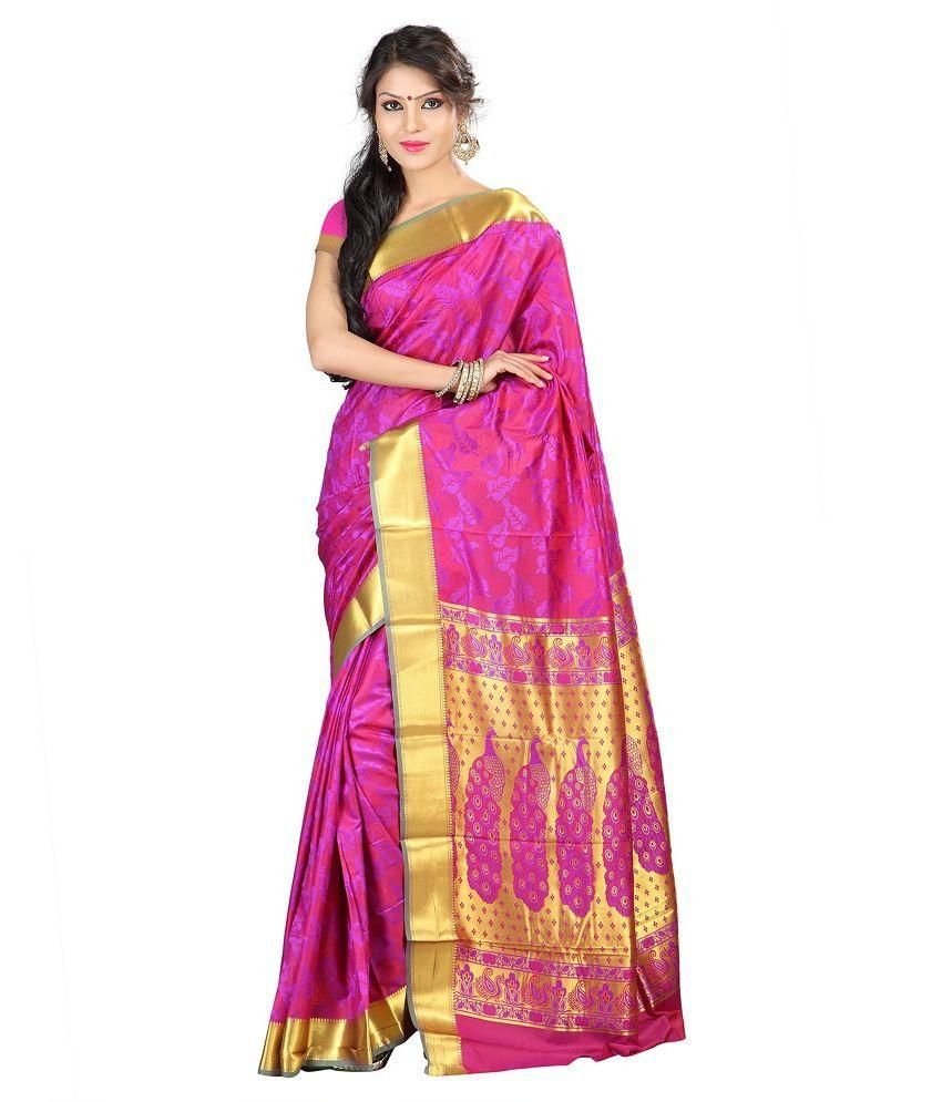 KANCHIPURAM Pink Art Silk Saree