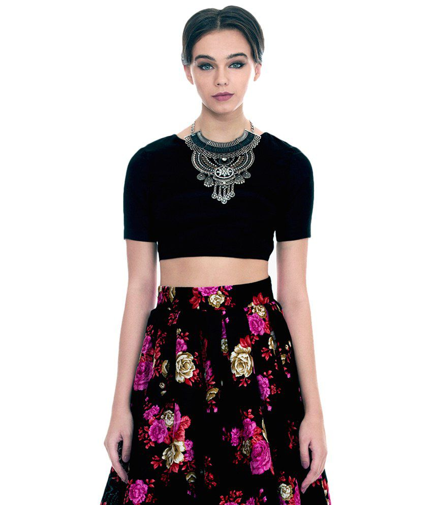 049b6bc078 Faballey Black Silk Crop Top - Buy Faballey Black Silk Crop Top Online at Best  Prices in India on Snapdeal