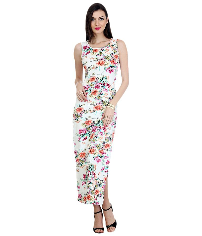 d742099ada9f6f Faballey White & Pink Cotton Maxi Dress - Buy Faballey White & Pink Cotton  Maxi Dress Online at Best Prices in India on Snapdeal