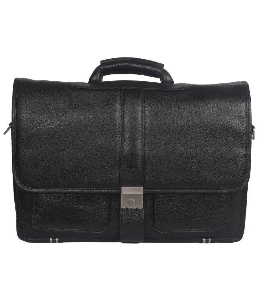 Bag Jack Deneb Black Leather Office Messenger Bag