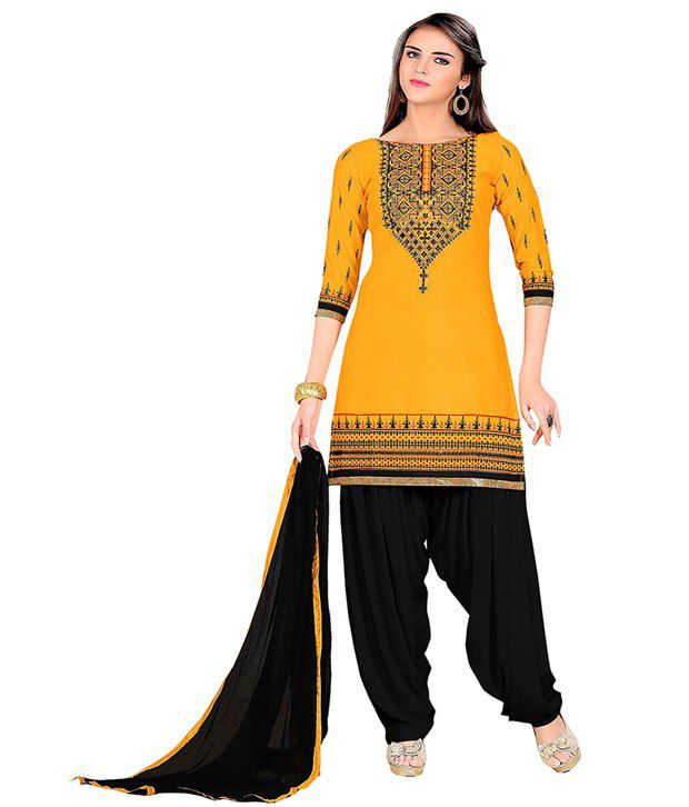 Lilots Yellow Cotton Unstitched Dress Material