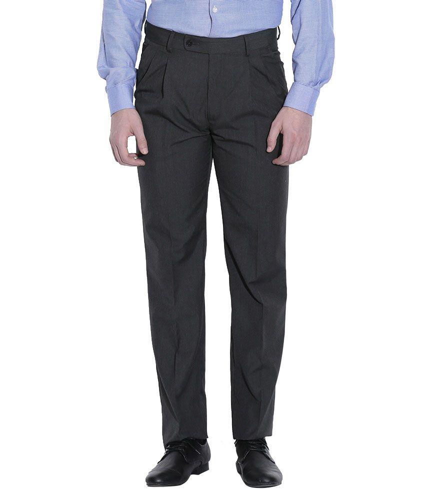 Mafatlal Black Slim Fit Formal Flat Trousers