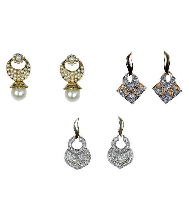 Rashi Jewellery Silver Alloy American Diamond Earring Combo - 3 Pair