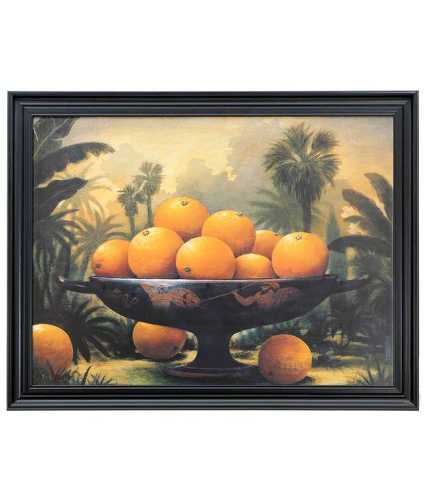 Elegant Arts And Frames Textured Fruit Basket Painting