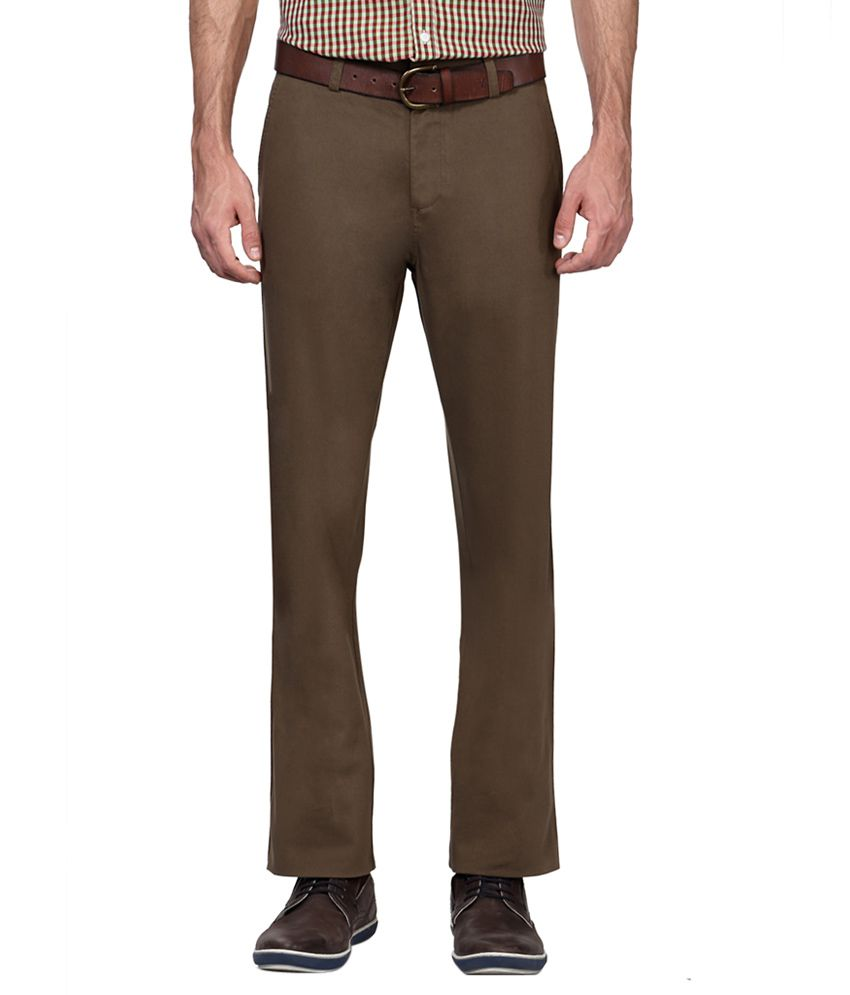 Allen Solly Green Regular Fit Flat Trousers