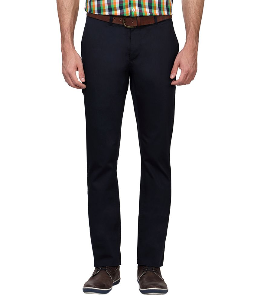 Allen Solly Navy Regular Fit Flat Trousers