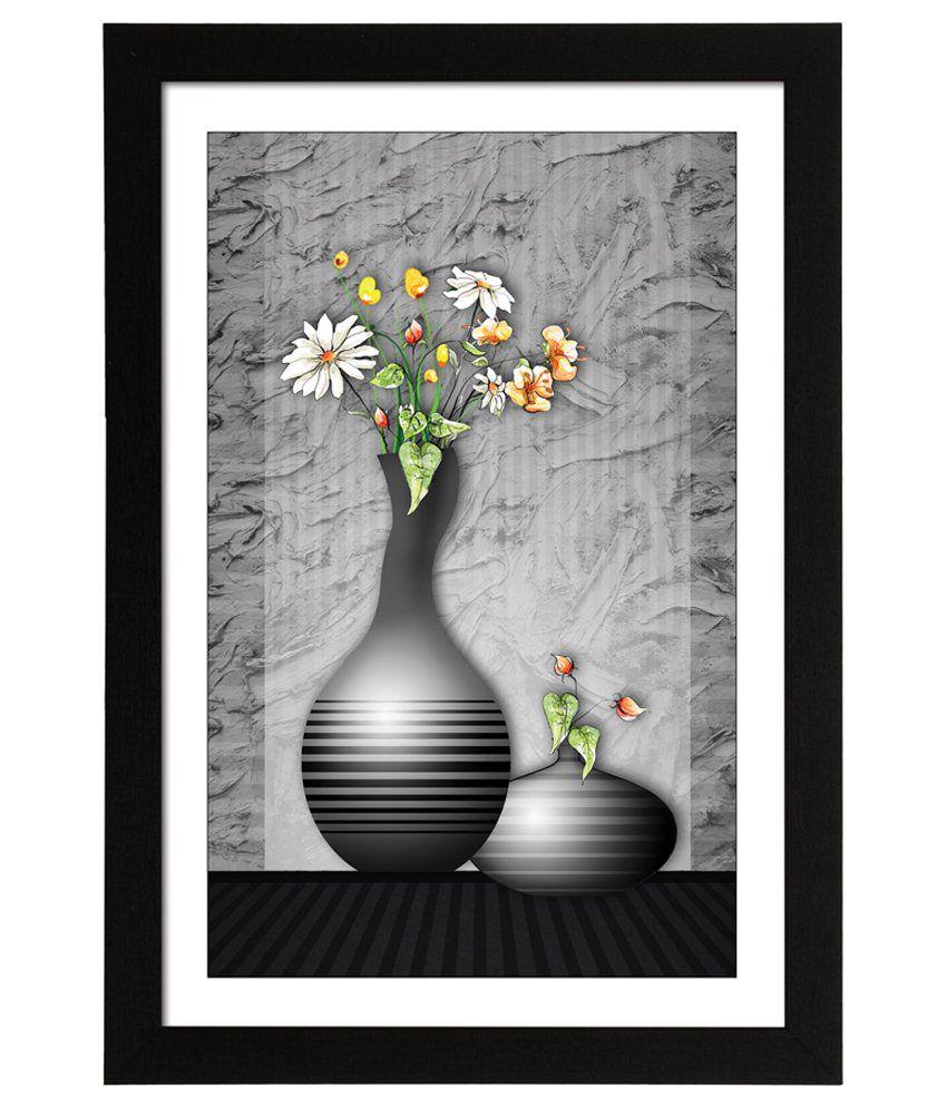 Delight Wooden Abstract Flower Pot Digital Printed Uv Photo Frame