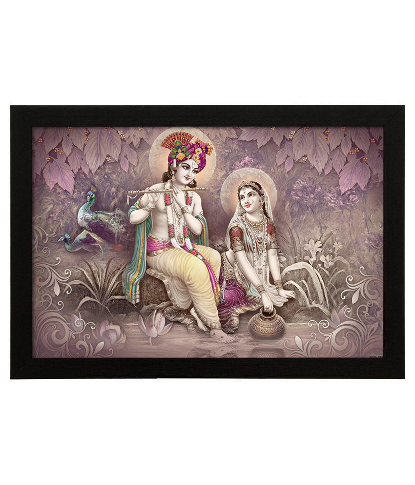 Delight Wooden Krishna And Panihari Digital Printed Uv Photo Frame
