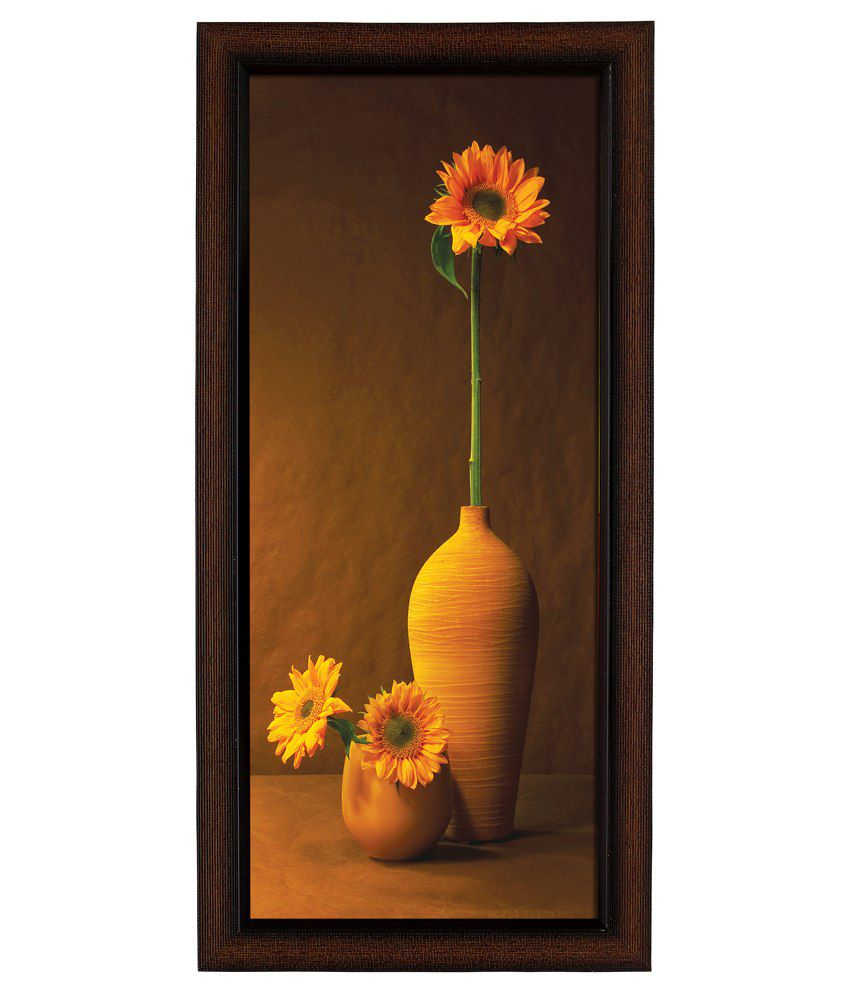 Delight Wooden Orange Floral Digital Printed Uv Photo Frame