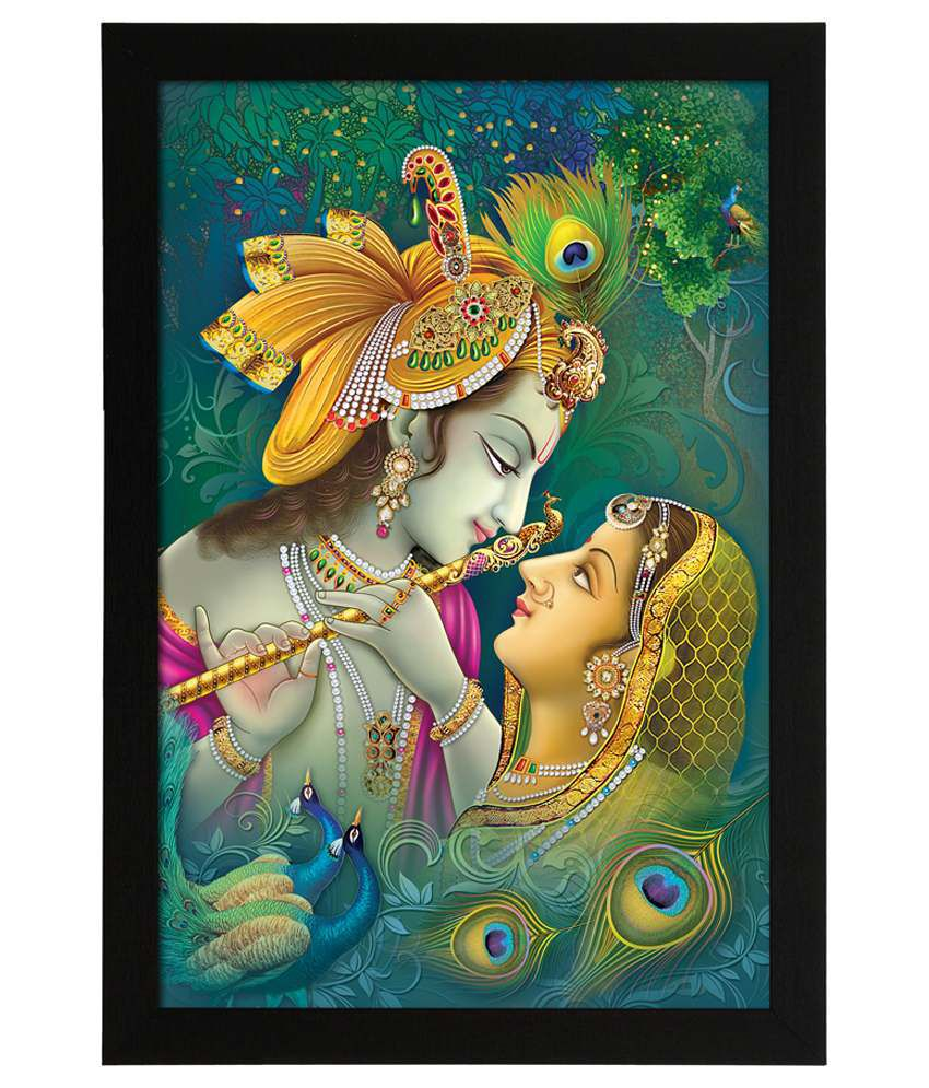 Delight Wooden Radha Kanhaiya Digital Printed Uv Photo Frame