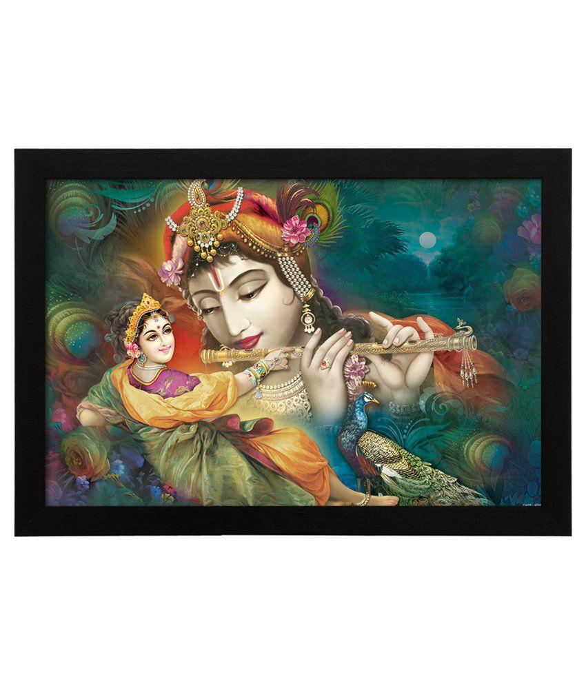 Delight Wooden Radha Krishna Digital Printed Uv Photo Frame