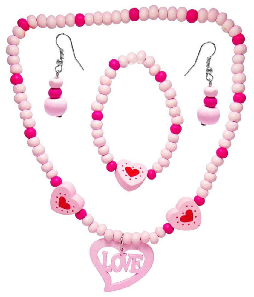 Jewelz Pink Antique Necklace Set