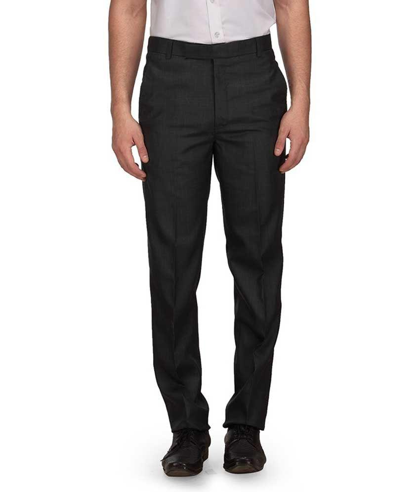 Ausy Black Slim Fit Formal Flat Trouser