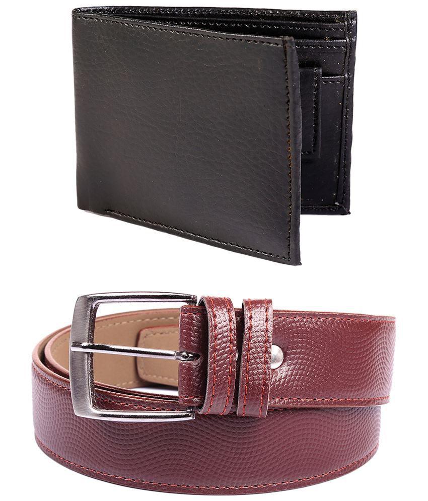 Fedrigo Combo Of Brown Pin Buckle Belt & Black Bi Fold Wallet