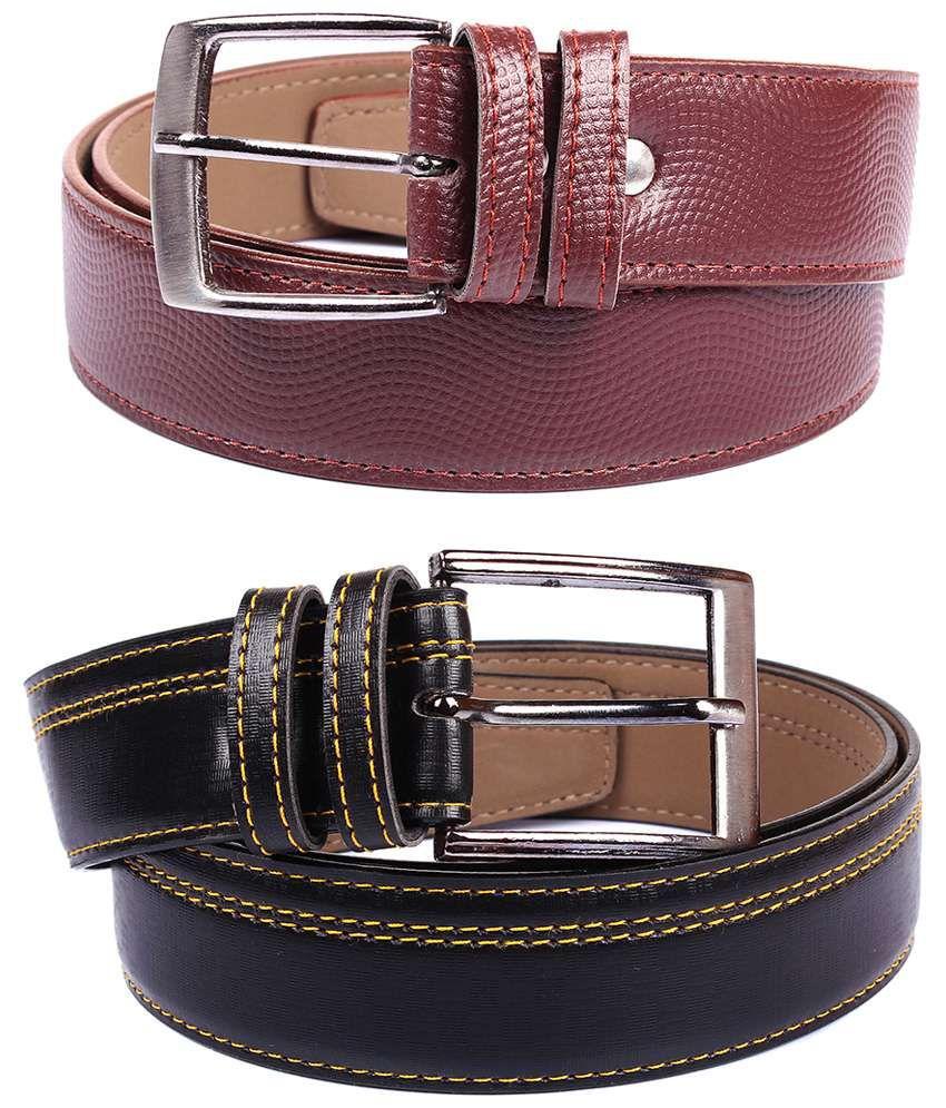 Fedrigo Pack Of 2 Brown & Black Pin Buckle Belt