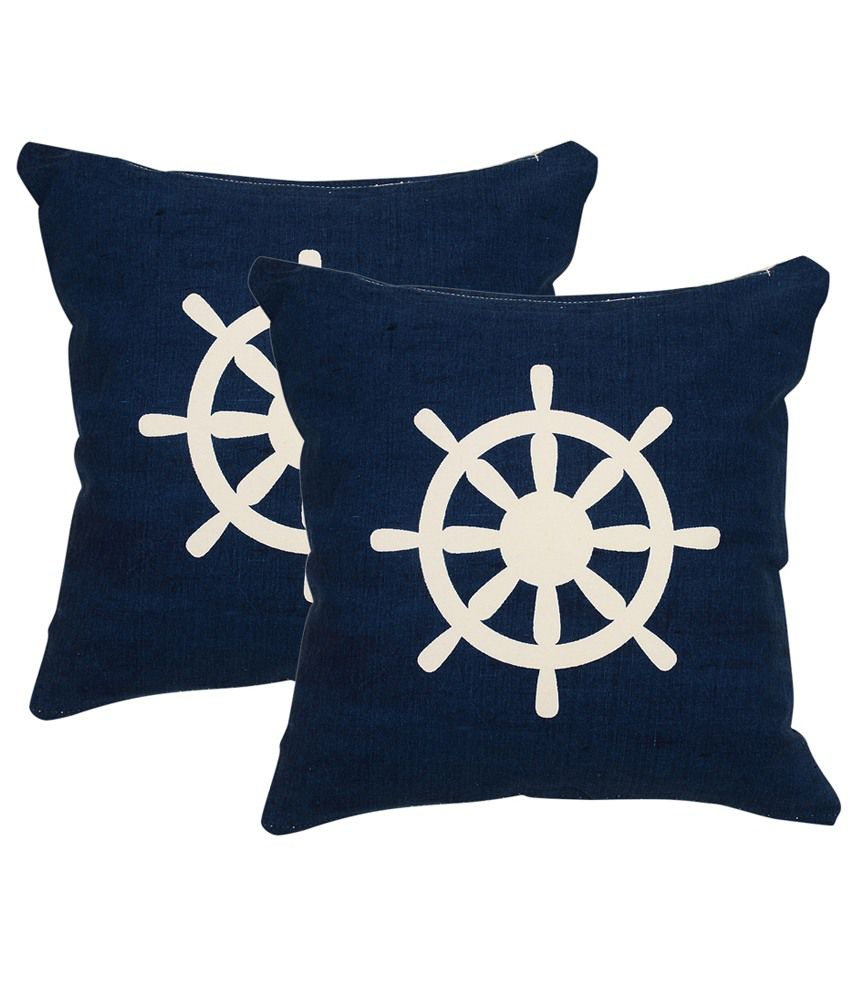 Khrysanthemum Oxford Cotton Nautical Wheels Cushion Cover - Set Of 2