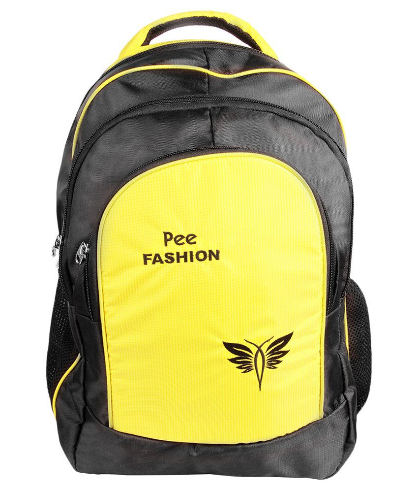 Pee Fashion Black And Yellow Polyester Laptop Bag