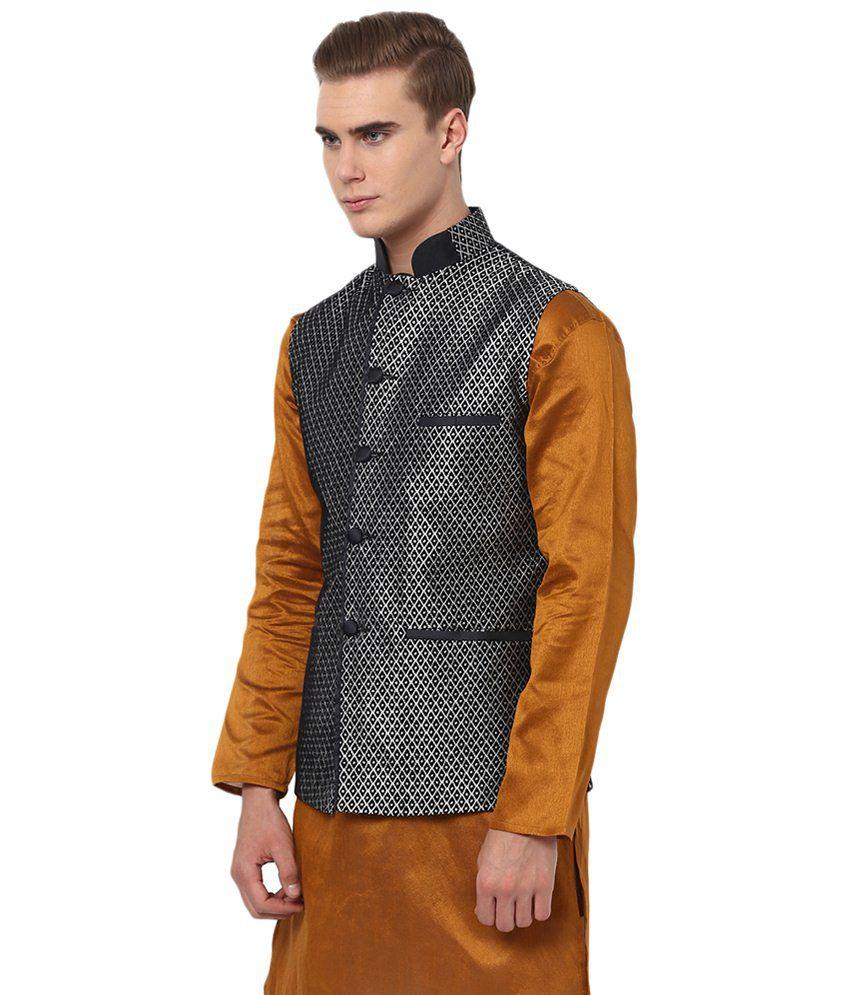 Leather jacket yepme -  Yepme Gray Vance Polyester Blend Nehru Jacket