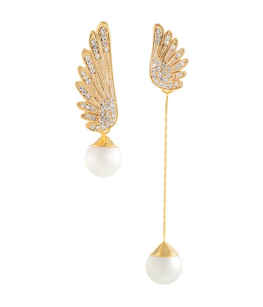Aaishwarya Alloy Pearly Wing Asymmetric Earrings