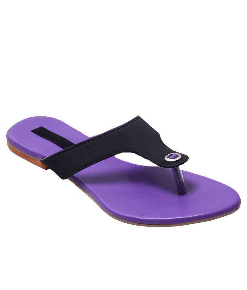 Fabme Purple Flat Slippers