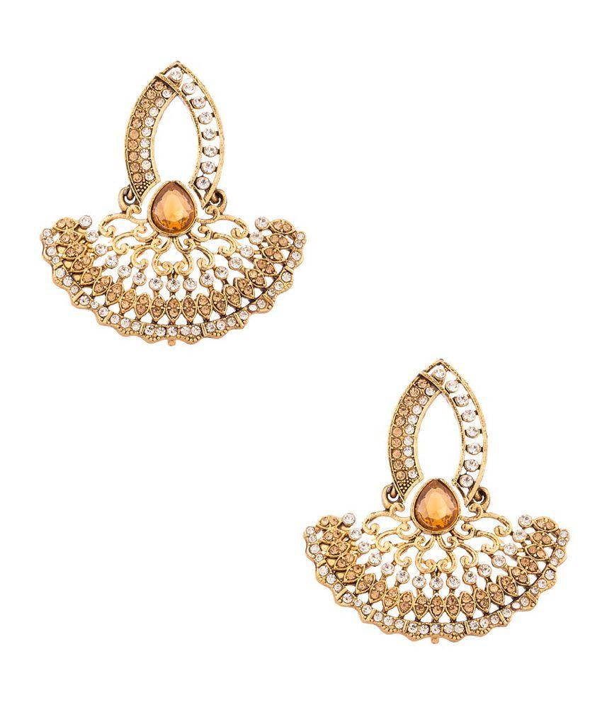 Voylla Golden Alloy Cz Hanging Dangle Earrings