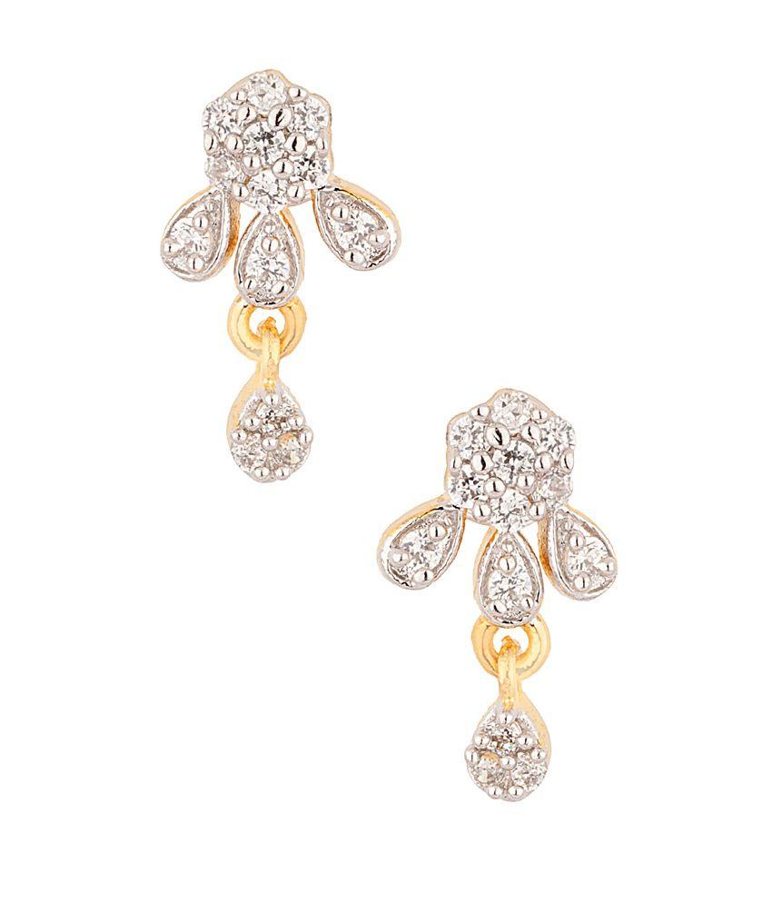 Voylla Golden Alloy Cz Stud Earrings