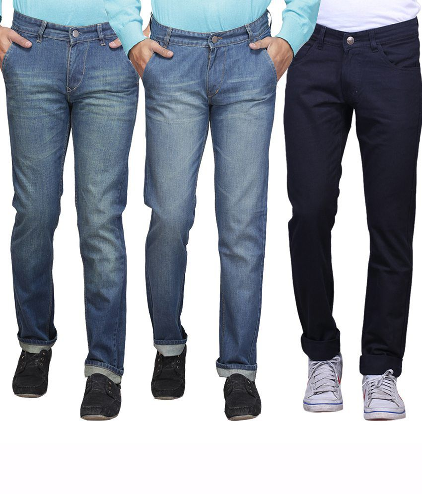 X-cross Multicolour Slim Fit Jeans Pack Of 3