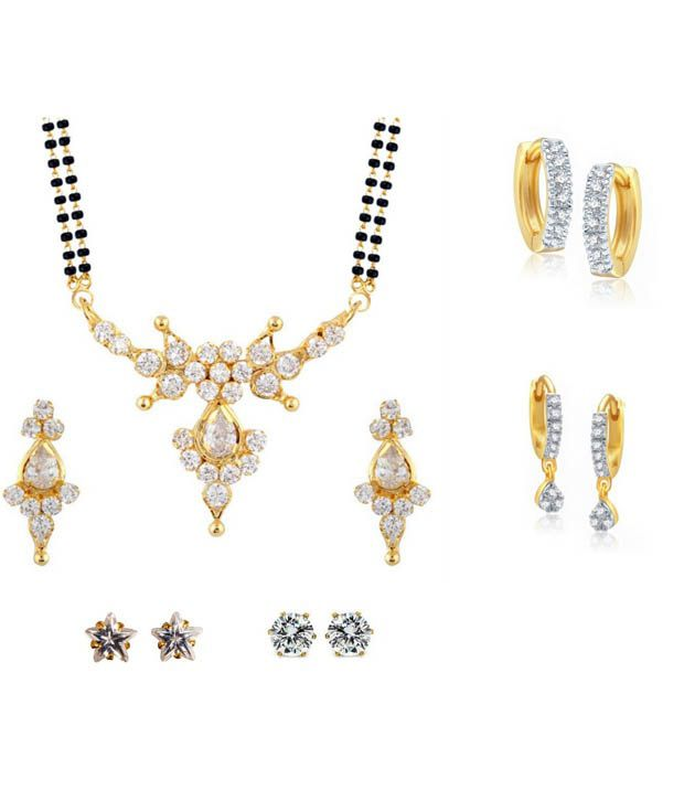 Archi Collection Golden Alloy Mangalsutra Set And 4 Pairs Of Earrings Combo